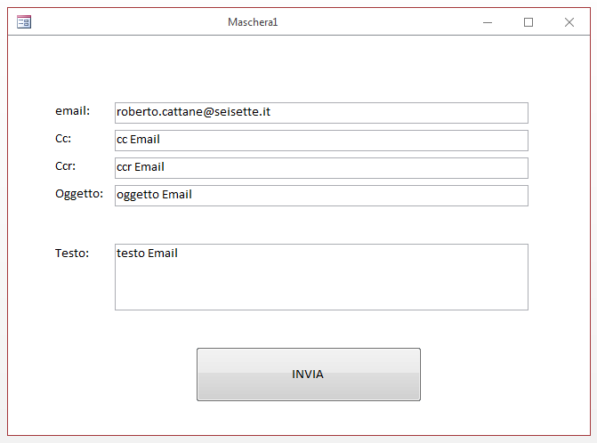 ms access - inviare email